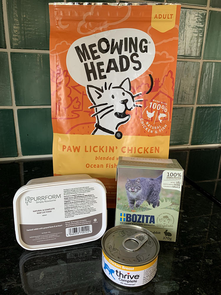 A selection of food for Maine Coon cats.
